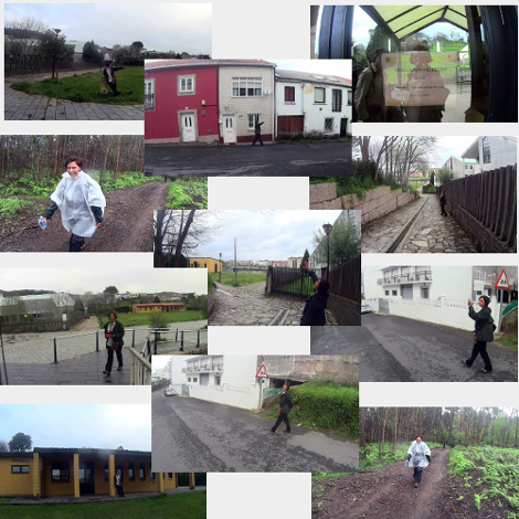 Collage of Susan Walking the Camino Ingles