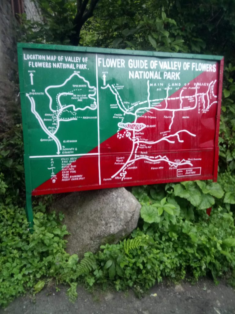 Valley of flowers map